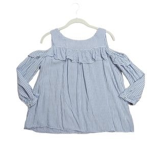 Entro Blue & White Stripe Cold Shoulder Ruffle Top